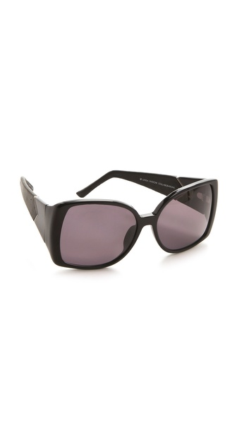 Linda Farrow for The Row Large Leather Jackie O Sunglasses
