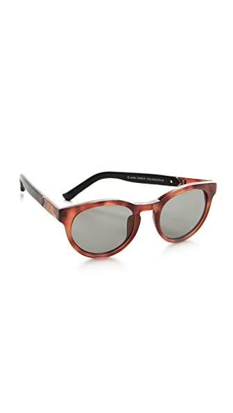 The Row Leather Round Sunglasses