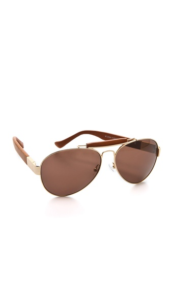 Linda Farrow for The Row Leather Aviator Sunglasses