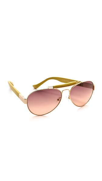 The Row Leather Aviator Sunglasses