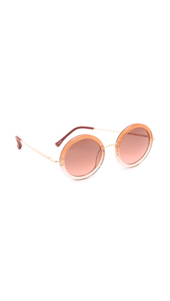 Linda Farrow for The Row Leather Oversized Round Sunglasses