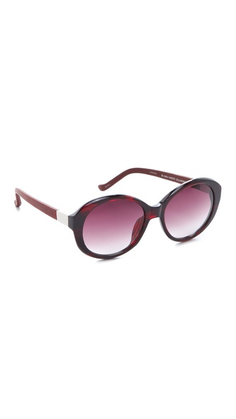 Linda Farrow for The Row Leather Jackie O Sunglasses