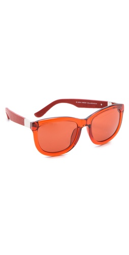Shop Linda Farrow for The Row Leather Sunglasses and Linda Farrow for The Row online - Accessories,Womens,Sunglasses,Square_(wayfarer), online Store
