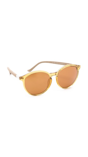 Linda Farrow for The Row Rounded Leather Sunglasses