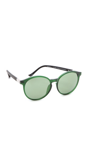 The Row Rounded Leather Sunglasses
