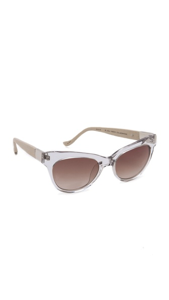 Linda Farrow for The Row Leather Cat Eye Sunglasses