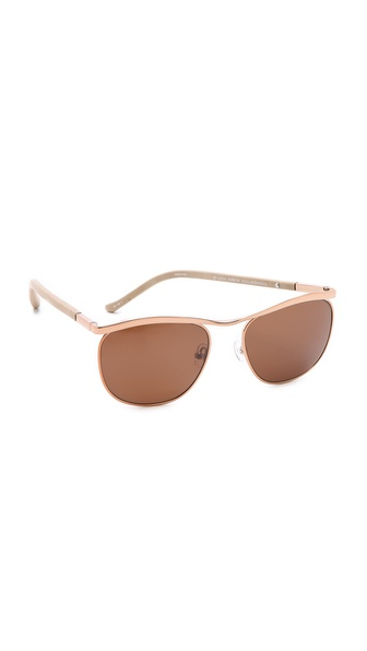 Linda Farrow for The Row Bronze & Leather Sunglasses