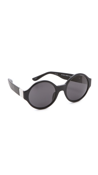 Linda Farrow for The Row Round Leather Sunglasses