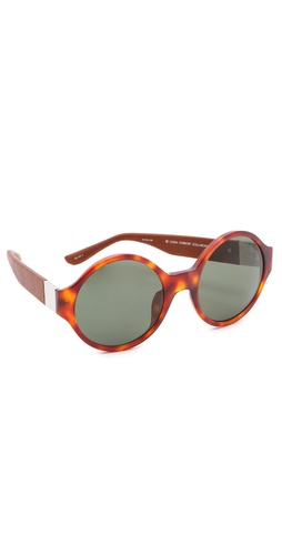 Shop Linda Farrow for The Row Round Leather Sunglasses and Linda Farrow for The Row online - Accessories,Womens,Sunglasses,Round_(perfectly), online Store