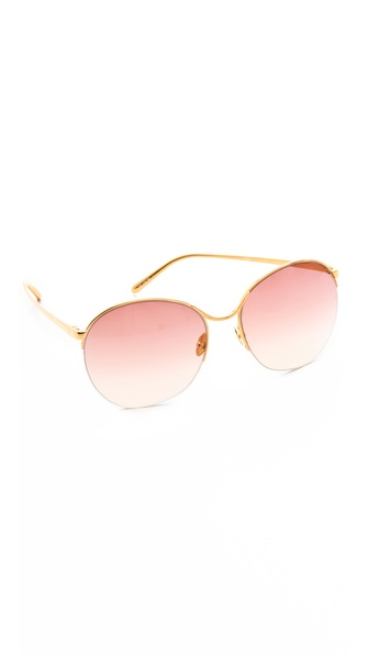 Linda Farrow Luxe Round Metal Sunglasses