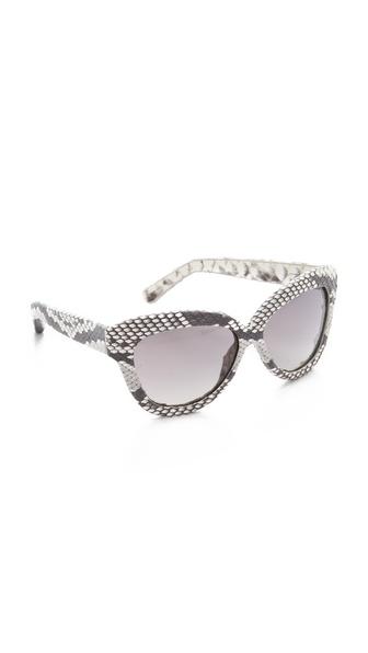 Linda Farrow Luxe Python Square Sunglasses