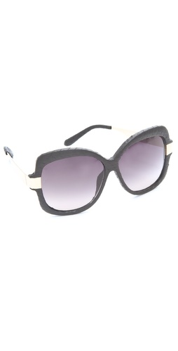Linda Farrow Luxe Snakeskin Oversized Sunglasses