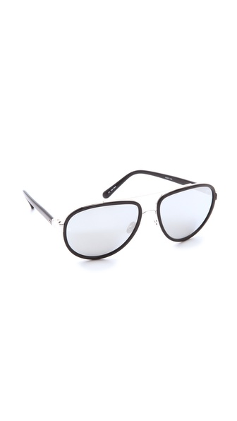 Linda Farrow Luxe Platinum Lens Aviator Sunglasses