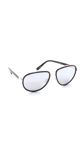 Linda Farrow Luxe Platinum Lens Aviator Sunglasses