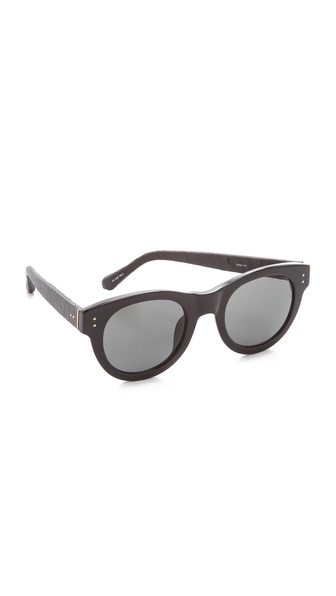 Linda Farrow Luxe Snakeskin Square Corner Sunglasses