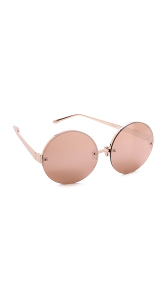 Linda Farrow Luxe Rose Gold Round Sunglasses