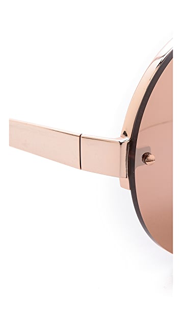 Linda Farrow Luxe 18k 玫瑰金圆形太阳镜