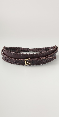 Linea Pelle Double Wrap Braid Waist Belt