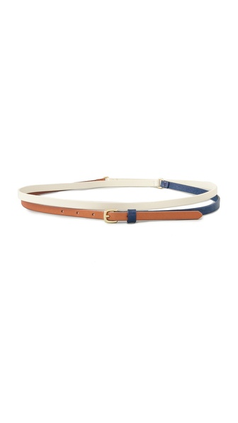 Linea Pelle Tri Color Skinny Wrap Belt
