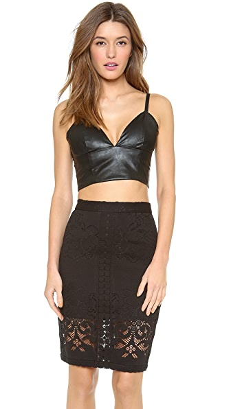 Line & Dot Faux Leather Bralette