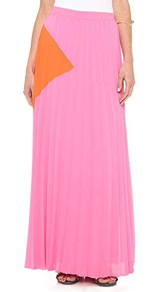Line & Dot Sunburst Pleated Maxi Skirt