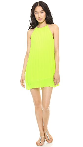 Line & Dot Pleated Mini Dress