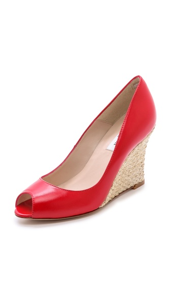 L.K. Bennett Estela Peep Toe Pumps - Red