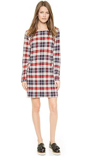Kupi Lbt-Lbt haljinu online i raspordaja za kupiti Lbt-Lbt Long Sleeved Shift Dress Checked Red/Navy online