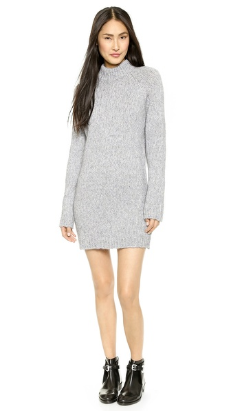 Shop Lbt-Lbt online and buy Lbt-Lbt Anthem Sweater Dress Sky Grey - A cozy Lbt Lbt turtleneck dress in a soft, loose knit. Ribbed edges. Long sleeves. Fabric: Chunky knit. 34% acrylic/25% mohair/23% polyamide/18% wool. Wash cold. Made in Italy. Measurements Length: 31.5in / 80cm, from shoulder Measurements from size S. Available sizes: L,M,S,XS