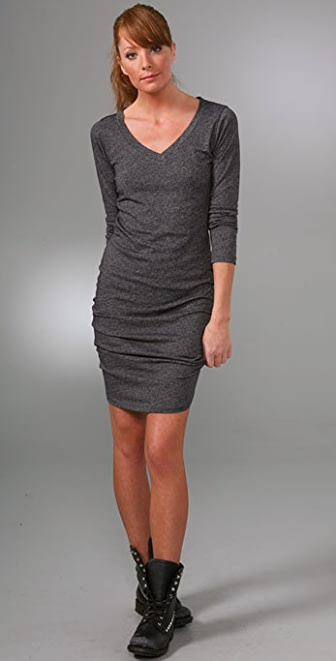 LNA Long Sleeve V Neck Dress