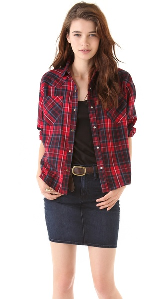 LNA Cropped Flannel Shirt