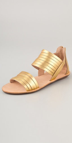 Loeffler Randall Heart LR Sam Metallic Flat Sandals
