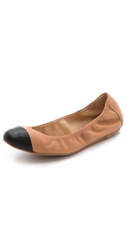 Shop Loeffler Randall online and buy Loeffler Randall Grier Elastic Ballet Flats - A band of soft elastic trims the top line of these comfortable leather Loeffler Randall flats. Rubber sole.  Leather: Cowhide. Made in Brazil. This item cannot be gift-boxed. - Sand/Black