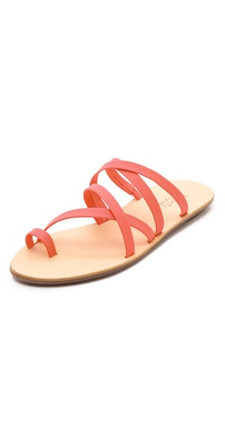 Shop Loeffler Randall online and buy Loeffler Randall Sarie Strappy Flat Sandals - Slip-on Loeffler Randall sandals with soft, crisscrossed straps. Rubber sole.  Leather: Calfskin. Made in Brazil. - Hot Melon