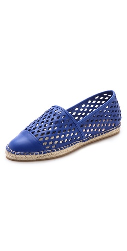 Kupi Loeffler Randall cipele online i raspordaja za kupiti Diamond cutouts create a lattice pattern on leather Loeffler Randall espadrilles. A smooth toe cap and braided raffia trim complete the casual silhouette. Crepe sole.  Leather: Cowhide. Made in Brazil. This item cannot be gift-boxed. - Blue