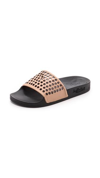 Loeffler Randall Cat Perforated Slide Sandals