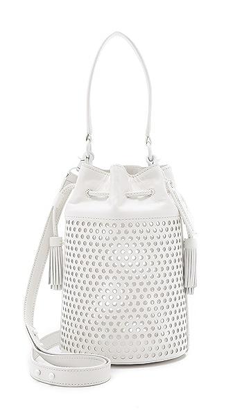 Loeffler Randall Industry Perforated Bucket Bag - White