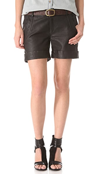 Lot78 Cuffed Leather Shorts