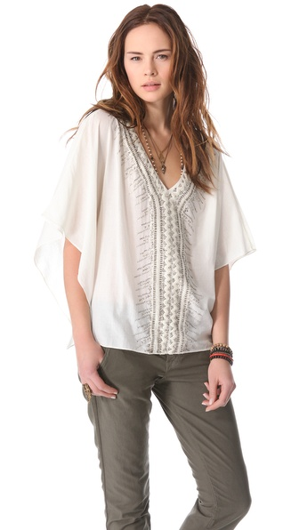 Love Sam Metallic Sequin Poncho Top