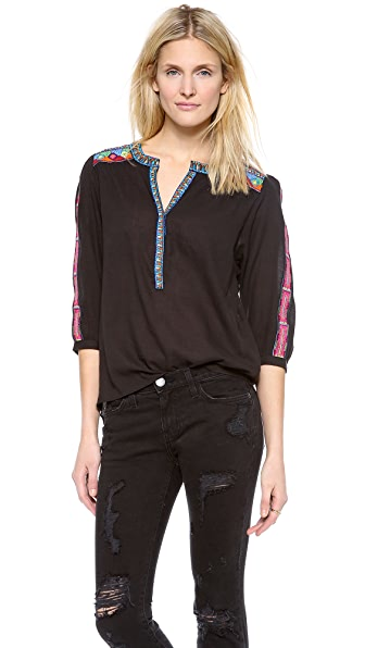 Love Sam Embroidered 3/4 Sleeve Blouse
