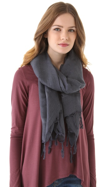 tassel knotted tassel linen scarf