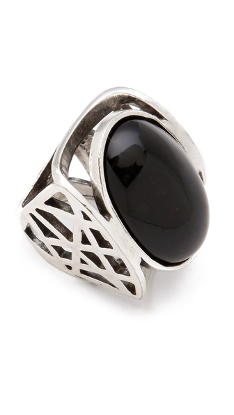 Low Luv x Erin Wasson Cage Ring with Black Oval Cabochon