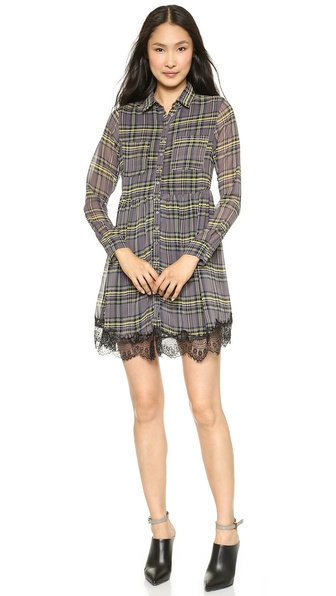 Shop Love Sadie online and buy Love Sadie Long Sleeve Dress - Grey - A plaid Love Sadie shirtdress gains shape with a cinched elastic waist. A fold over collar and buttoned placket lend a traditional look, while eyelash lace trim lends a modern finish. Sheer long sleeves. Patch breast pockets. Lined. Fabric: Gauze. Shell: 100% polyester. Trim: 100% nylon. Hand wash. Imported, China. Measurements Length: 33.75in / 86cm, from shoulder Measurements from size S. Available sizes: L,M,S,XS