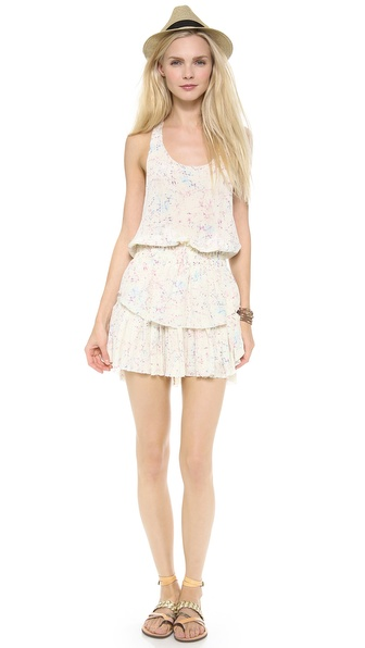 LOVESHACKFANCY Crystal Batik Ruffle Racer Mini Dress