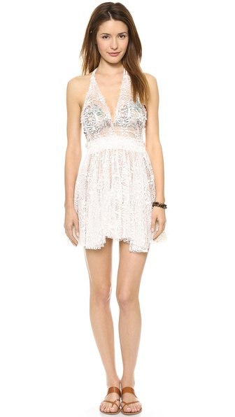 LOVESHACKFANCY Halter Mini Dress