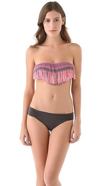 L*Space Santorini Sunrise Dolly Fringe Bandeau Bikini Top