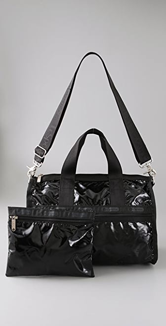 LeSportsac Black Patent Small Weekender