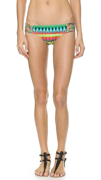 Shop Luli Fama online and buy Luli Fama Tulum Party Bikini Bottoms Multi - Vivid ikat print brings an exotic look to these low rise Luli Fama bikini bottoms. Lined. 80% nylon/20% spandex. Hand wash. Imported, Colombia. Size & Fit. Available sizes: S,XS