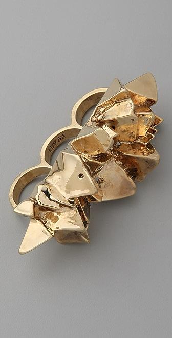 Luv Aj Crystal Chunk Knucklebuster Ring
