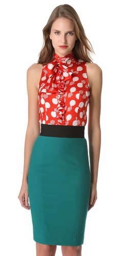 Shop L'Wren Scott Bomb Print Tie Neck Blouse and L'Wren Scott online - Apparel,Womens,Tops,Blouse, online Store